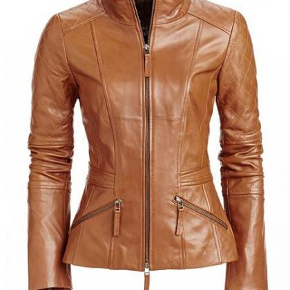 Women S Tan Brown Leather Jacket On Luulla